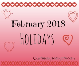 feb 2018 holidays