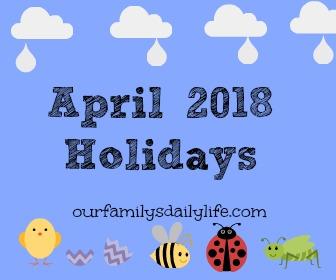 april 2018 holidays